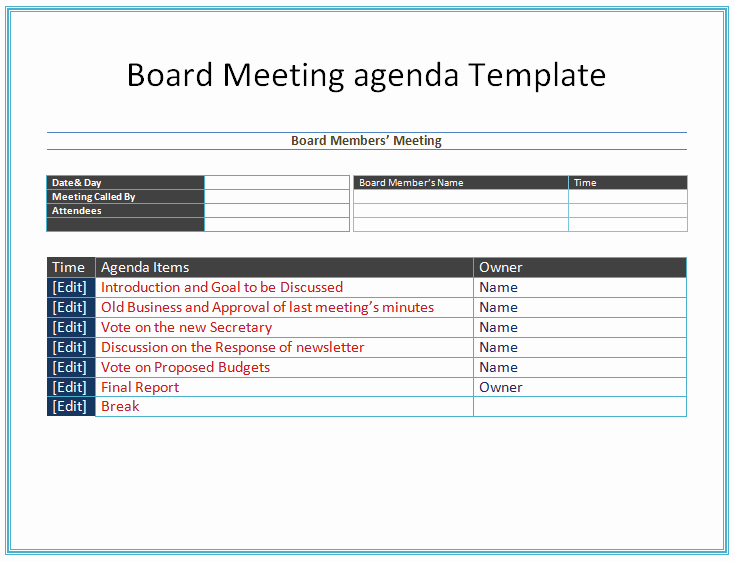 Meeting Agenda Template Word Inspirational Board Meeting Agenda Template Easy Agendas