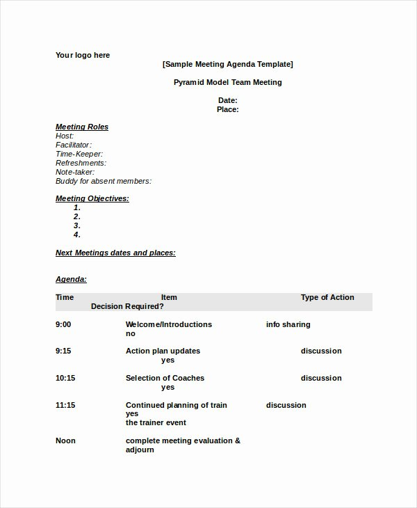 Meeting Agenda Template Word Inspirational Word Agenda Template 6 Free Word Documents Download
