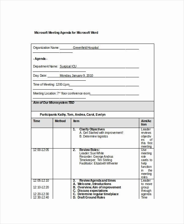 Meeting Agenda Template Word New 12 Microsoft Meeting Agenda Templates – Free Sample