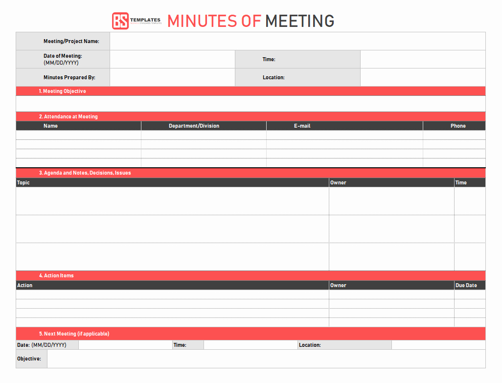 Meeting Minute Template Excel Best Of Minutes Of Meeting Template – 16 Excel Word