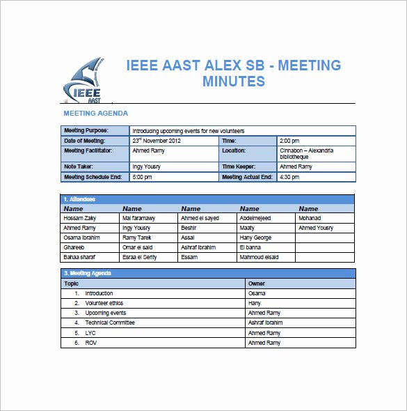 Meeting Minute Template Excel Lovely 14 Project Meeting Minutes Template Google Docs Word