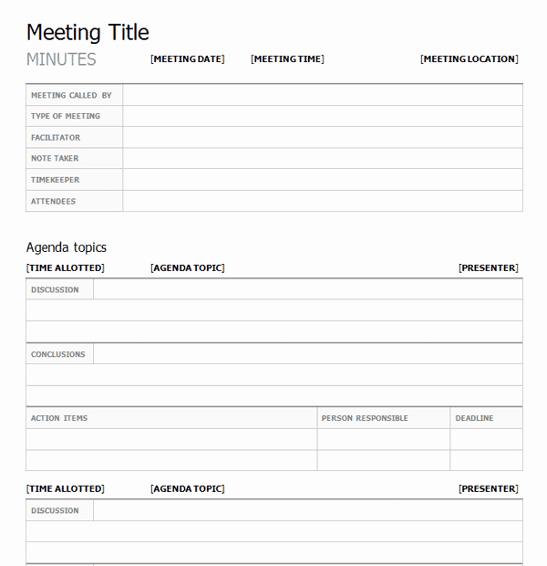 Meeting Minutes Template Excel Best Of top 5 Free Meeting Minutes Templates Word Templates