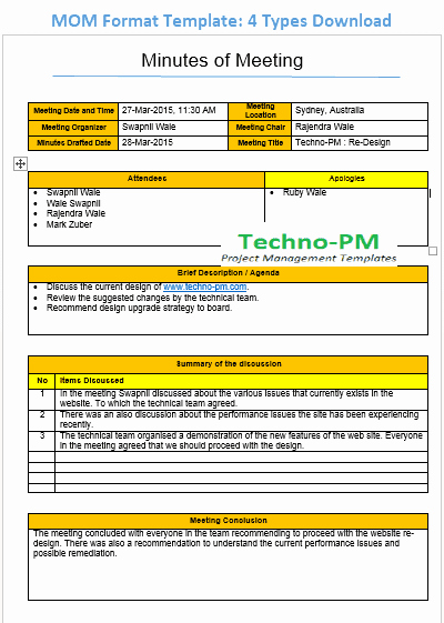 Meeting Minutes Template Excel Lovely Mom format Template 4 Types Download Project Management