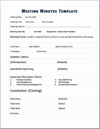 Meeting Notes Template Free Awesome formal Meeting Minutes Template
