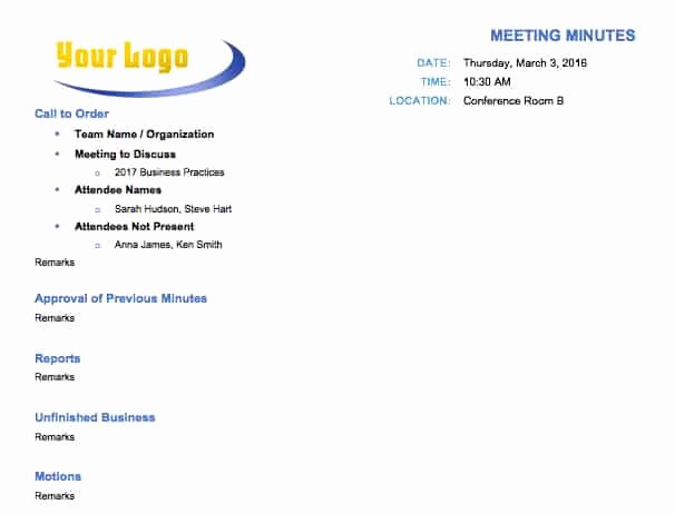 Meeting Notes Template Free Beautiful Free Meeting Minutes Template for Microsoft Word