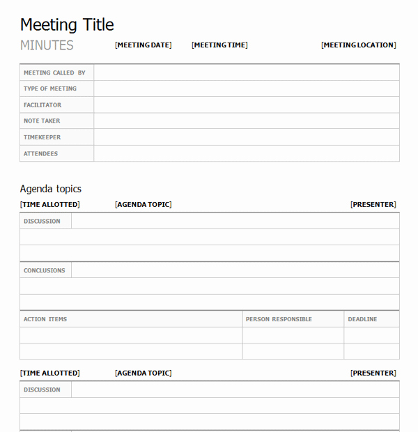Meeting Notes Template Free Beautiful What are the Elements Of A Meeting Minutes Template
