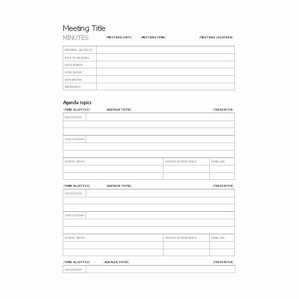 Meeting Notes Template Free New Free Templates for Business Meeting Minutes