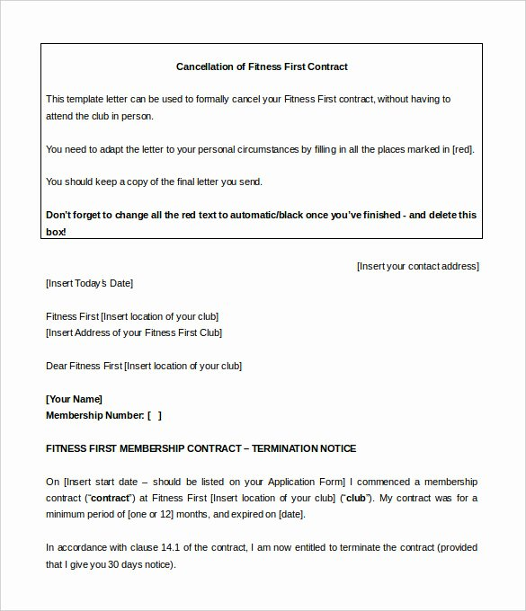 Membership Agreement Template Free Beautiful Planet Fitness Cancellation form Pdf