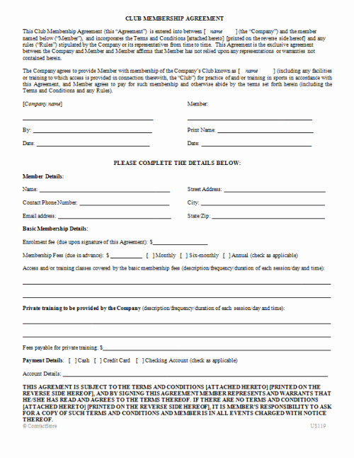 Membership Agreement Template Free Best Of Club Membership Agreement