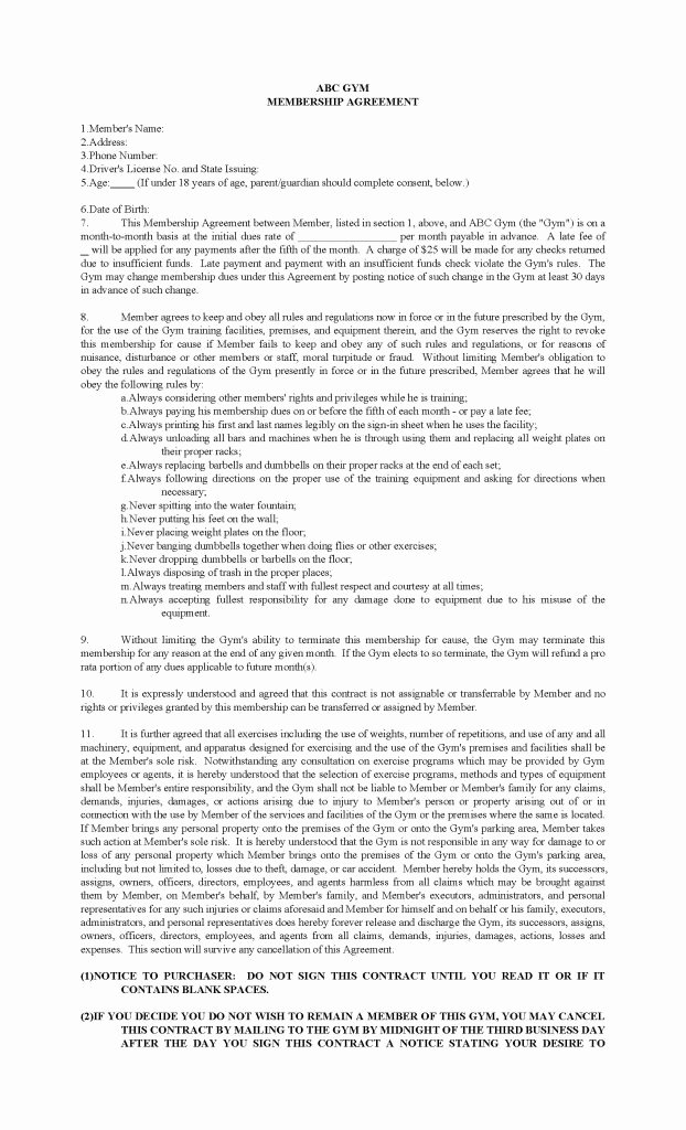 Membership Agreement Template Free Best Of Gym Membership Contract Template Pdf format