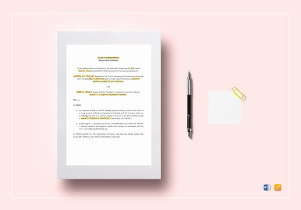 Membership Agreement Template Free Elegant 9 Gym Membership Contract Templates Pages Docs Word