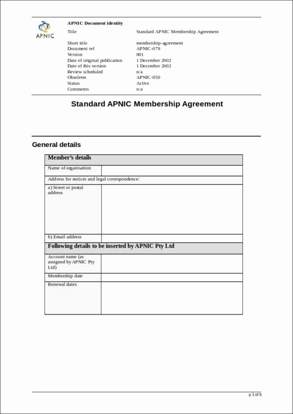 Membership Agreement Template Free Fresh Free 40 Contract Templates In Docs Pages