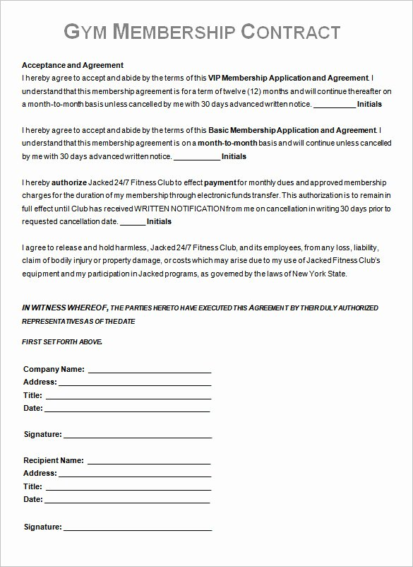 Membership Agreement Template Free Fresh Gym Contract Template – 13 Free Word Pdf Documents