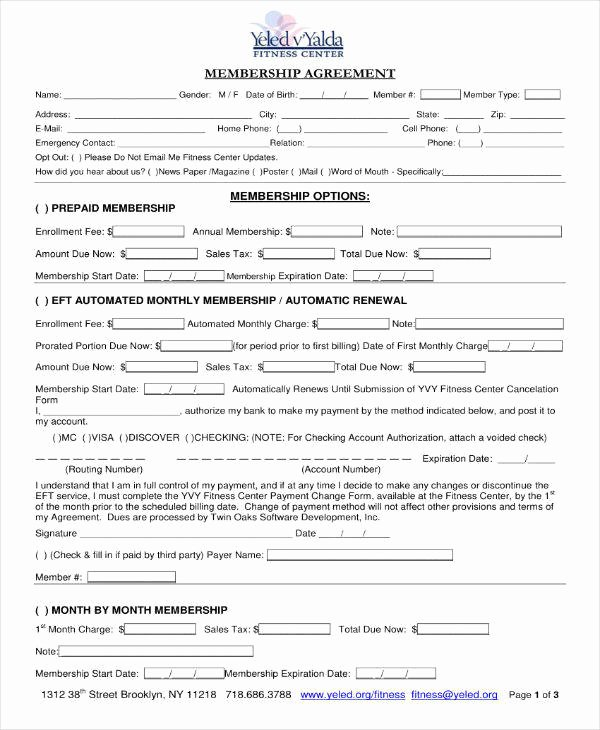 Membership Agreement Template Free Inspirational 9 Gym Membership Contract Templates Pages Docs Word