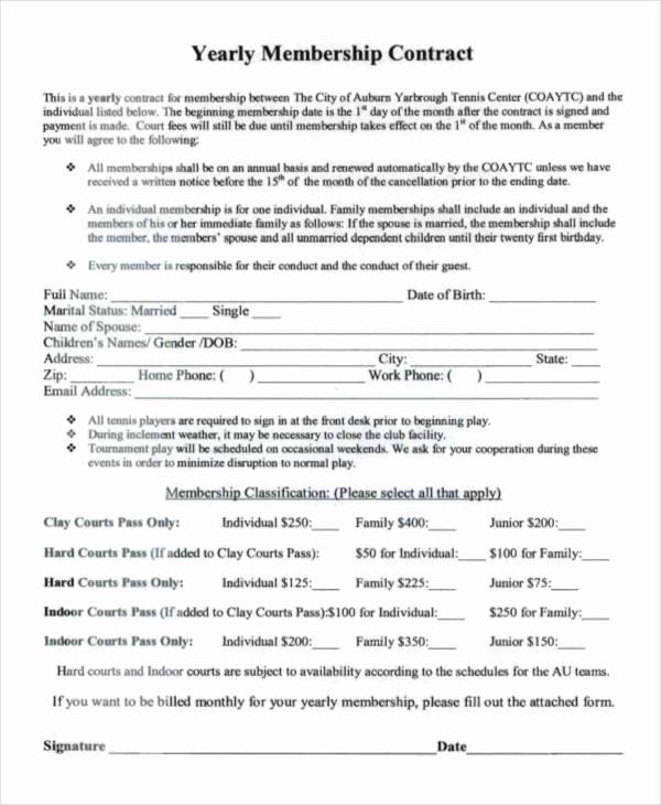 Membership Agreement Template Free Inspirational Membership Contract Template How to Leave Membership