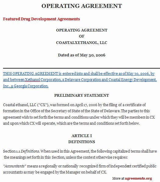Membership Agreement Template Free Inspirational Operating Agreement Sample Operating Agreement Template