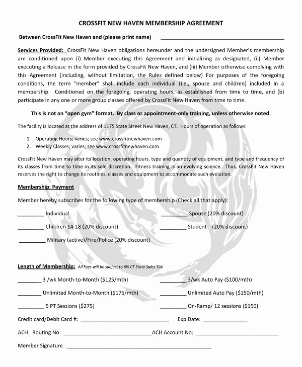 Membership Agreement Template Free New 11 Gym Membership Contract Examples Word Docs Pages