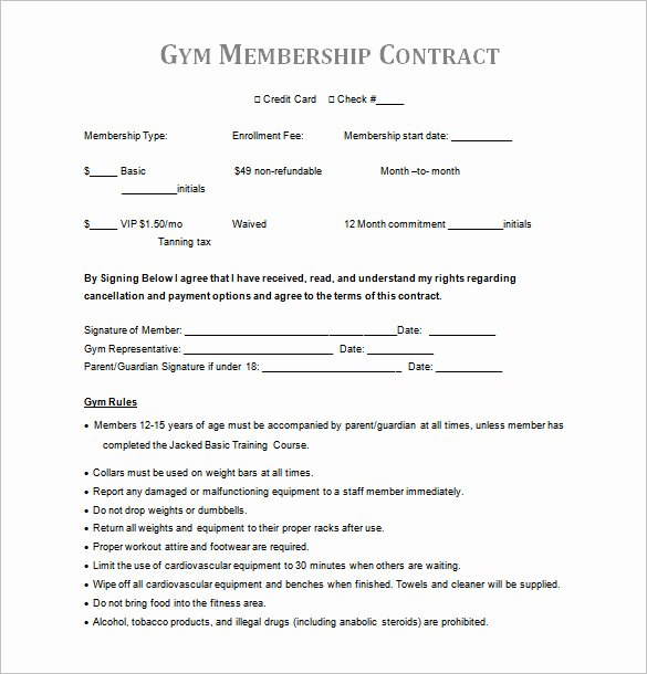 Membership Agreement Template Free New 15 Gym Contract Templates Word Google Docs Apple