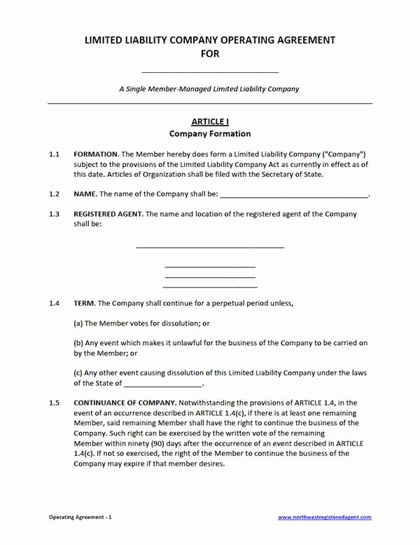 Membership Agreement Template Free New Free Single Member Llc Operating Agreement Template