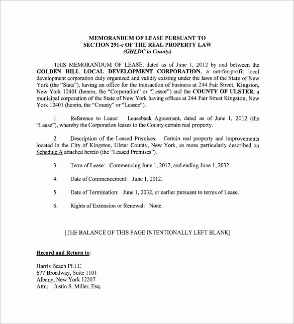 Memorandum Of Agreement Templates Inspirational Sample Memorandum Of Lease Agreement 9 Free Documents