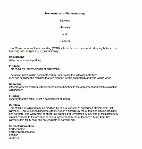 Memorandum Templates for Word Best Of 13 Memorandum Of Agreement Templates – Word Pdf