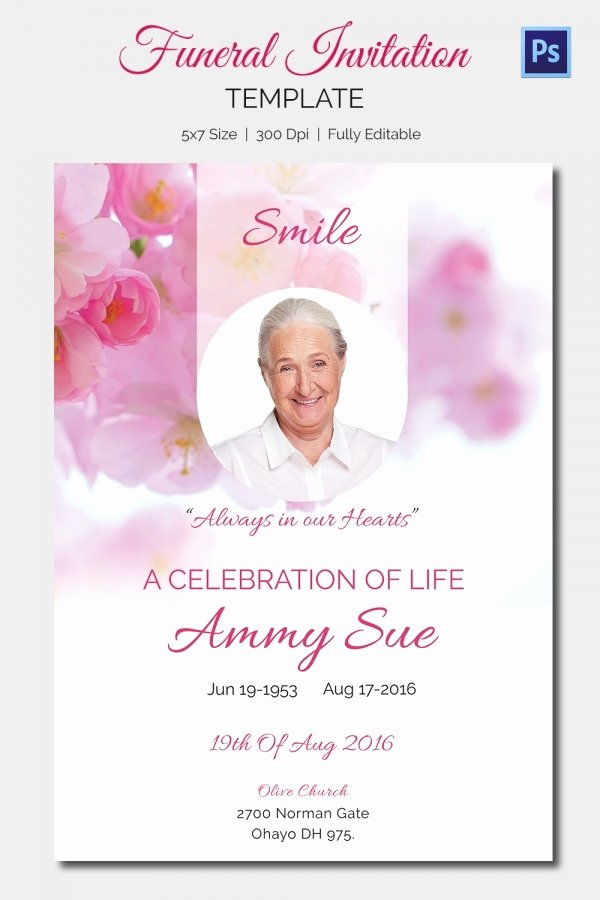 Memorial Card Template Free Beautiful 15 Funeral Invitation Templates – Free Sample Example