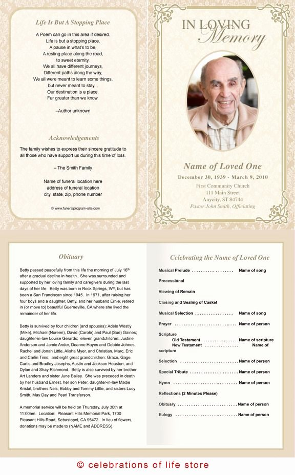 Memorial Card Template Free Best Of Alexandria Printable Funeral Program Template
