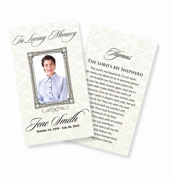 Memorial Card Template Free Fresh Funeral Prayer Cards Examples