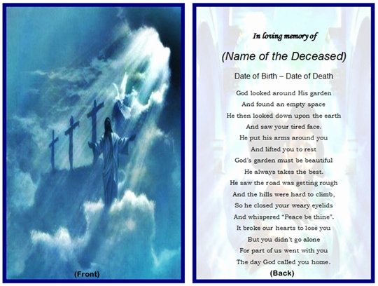 Memorial Card Template Free Inspirational Memorial Card Quotes for Funerals Quotesgram