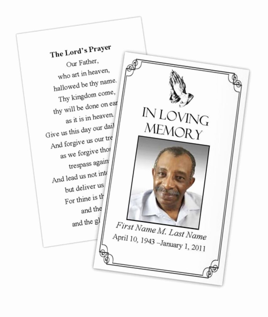 Memorial Card Template Free Lovely Business Card Shop Template Funeral Prayer Card