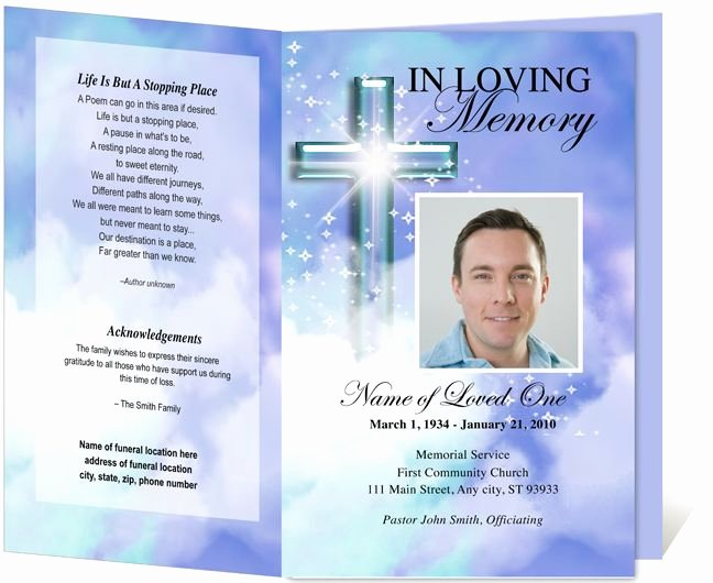 Memorial Card Template Free Luxury Adoration Printable Funeral Program Template