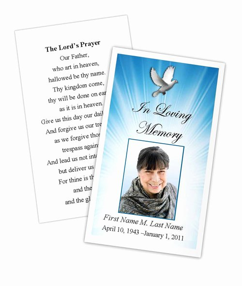 Memorial Card Template Free New Celestial Dove Memorial Prayer Card Template Elegant
