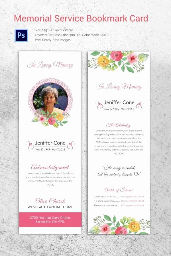 Memorial Card Template Free New Memorial Service Bookmark Card Download