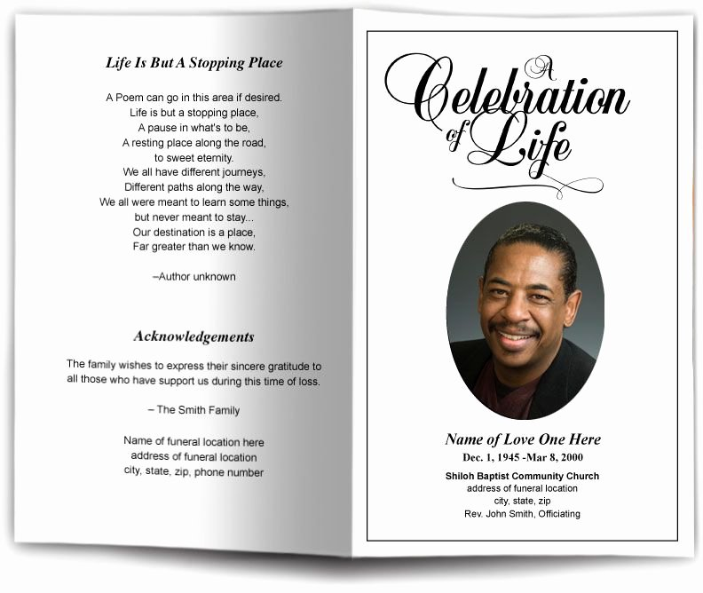 Memorial Card Template Free Unique Funeral Program Obituary Templates