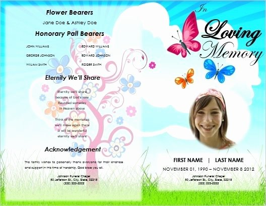 Memorial Cards Templates Free Awesome Child Funeral order Of Service Template Kid Memorial