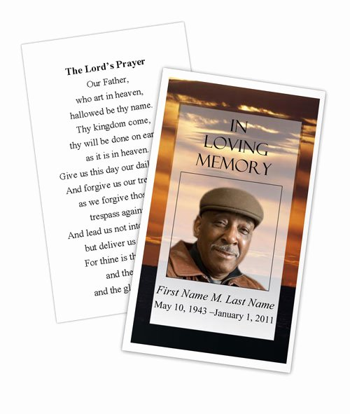 Memorial Cards Templates Free Best Of Brown Sunset Memorial Prayer Card Template Elegant Memorials