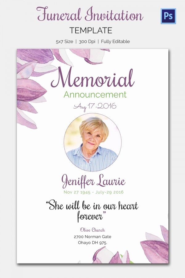 Memorial Cards Templates Free Fresh Funeral Invitation Template – 12 Free Psd Vector Eps Ai