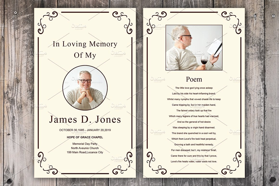 Memorial Cards Templates Free Lovely Funeral Prayer Card Template Card Templates Creative