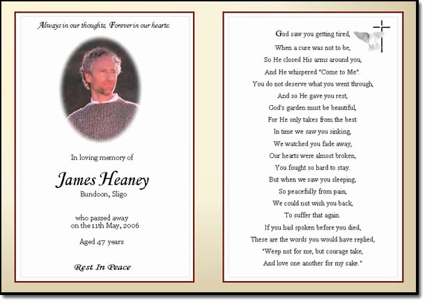 Memorial Cards Templates Free New Quotes for Funeral Card Quotesgram