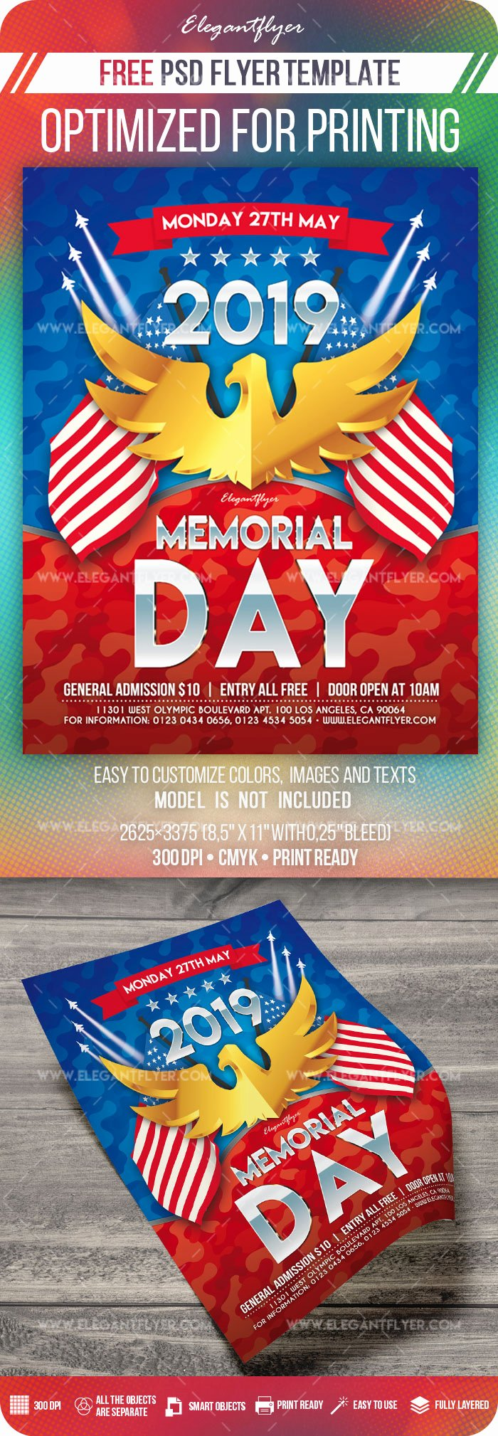 Memorial Day Flyer Template Free Beautiful Memorial Day – Free Flyer Psd Template – by Elegantflyer