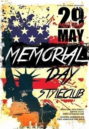 Memorial Day Flyer Template Free Beautiful Memorial Day Psd Flyer Template Styleflyers