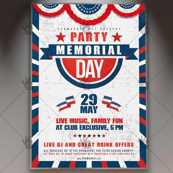 Memorial Day Flyer Template Free Elegant Memorial Day Party Premium Flyer Psd Template