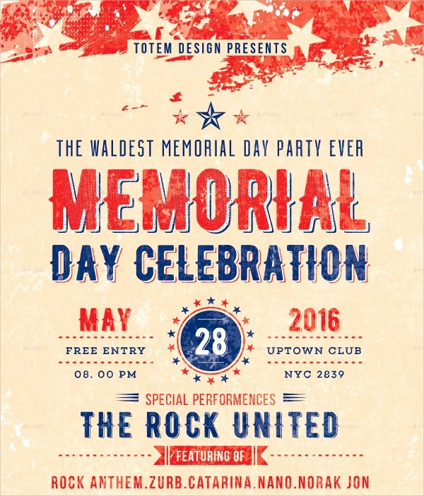 Memorial Day Flyer Template Free Inspirational 20 Memorial Day Flyers Psd Vector Eps format Download