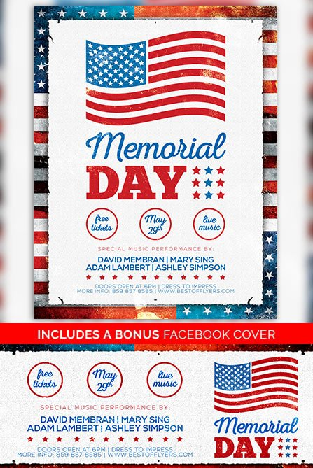 Memorial Day Flyer Template Free Inspirational Memorial Day Free Poster Template Freebie for