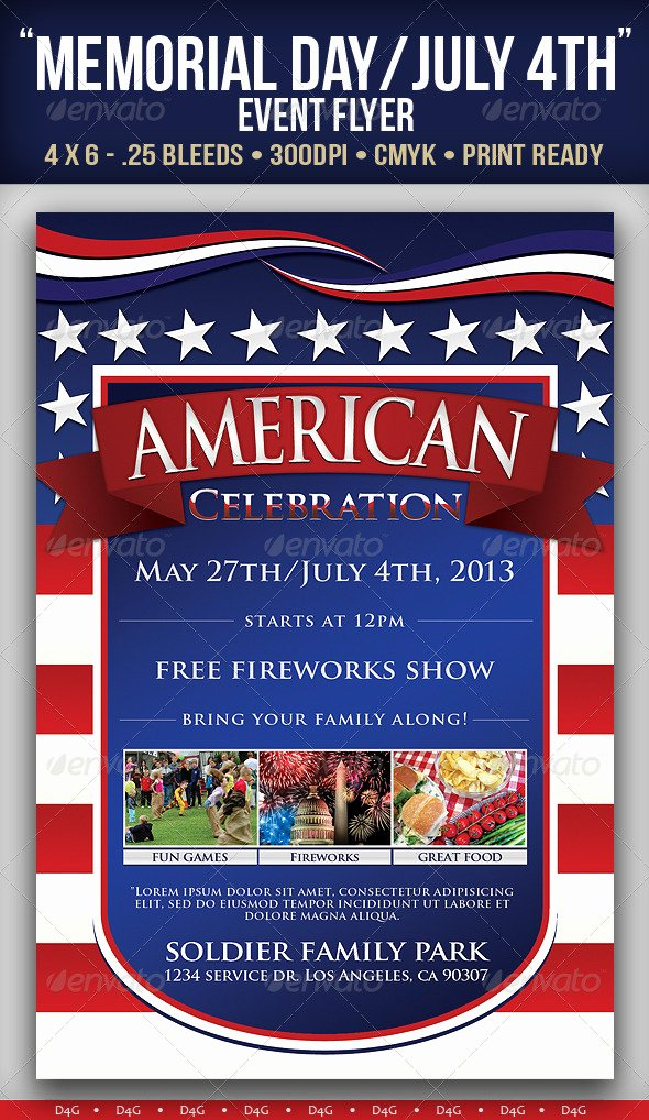 """Memorial Day Flyer Template Free New """"american"""" Memorial Independence Day event Flyer"""