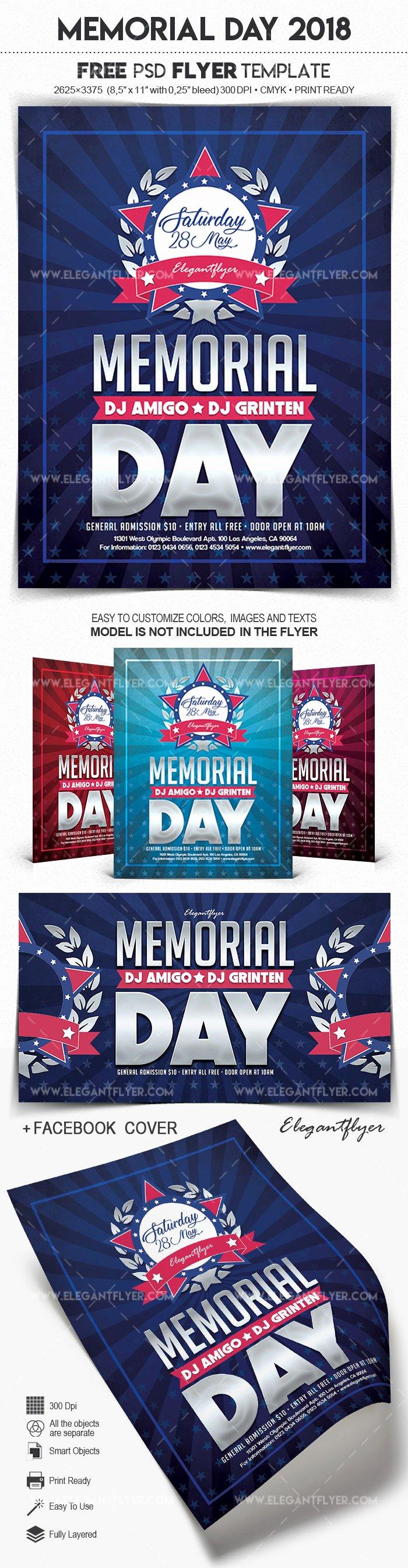 Memorial Day Flyer Template Free New Memorial Day 2018 – Free Flyer Psd Template – by Elegantflyer