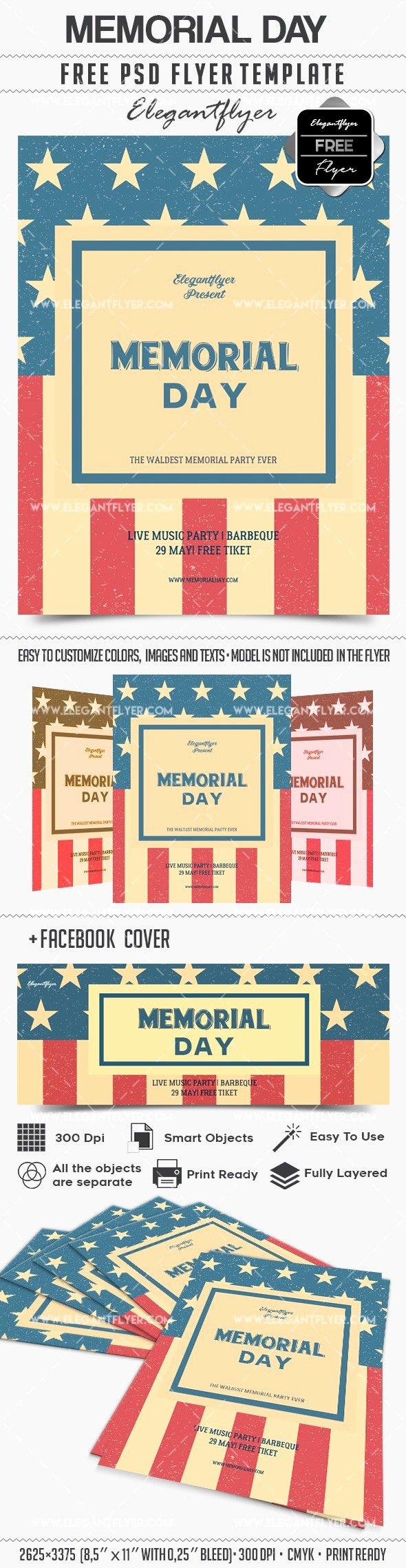 Memorial Day Flyer Template Free New Memorial Day – Free Flyer Psd Template – by Elegantflyer