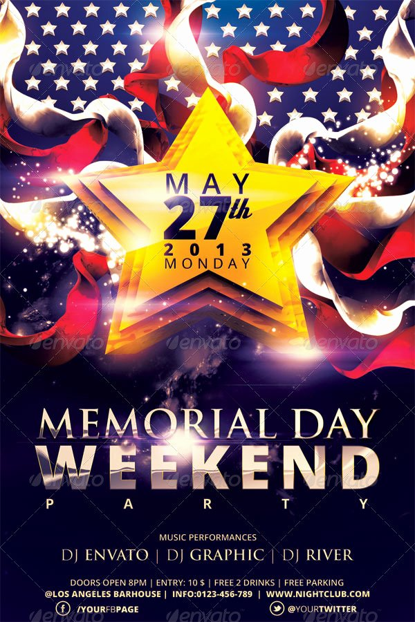 Memorial Day Flyer Template Free New Memorial Day Weekend Party Flyer Template by Hermz