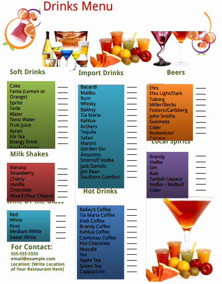Menu Template Free Word Awesome 21 Free Free Restaurant Menu Templates Word Excel formats