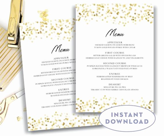 Menu Template Free Word Awesome Gold Wedding Menu Template 5x7 Editable Text Microsoft Word